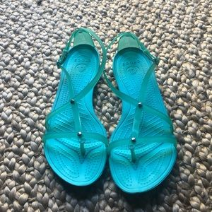Teal Crocs Sandals